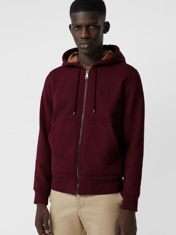 Check Detail Jersey Hooded Top in Dark Crimson