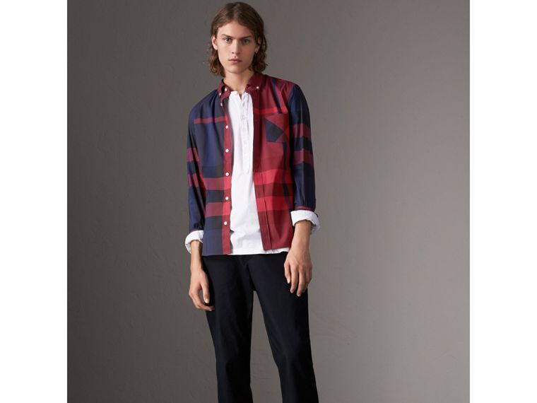 Button-down Collar Check Stretch Cotton Blend Shirt in Bright Red - Men | Burberry United Kingdom - cell image 4