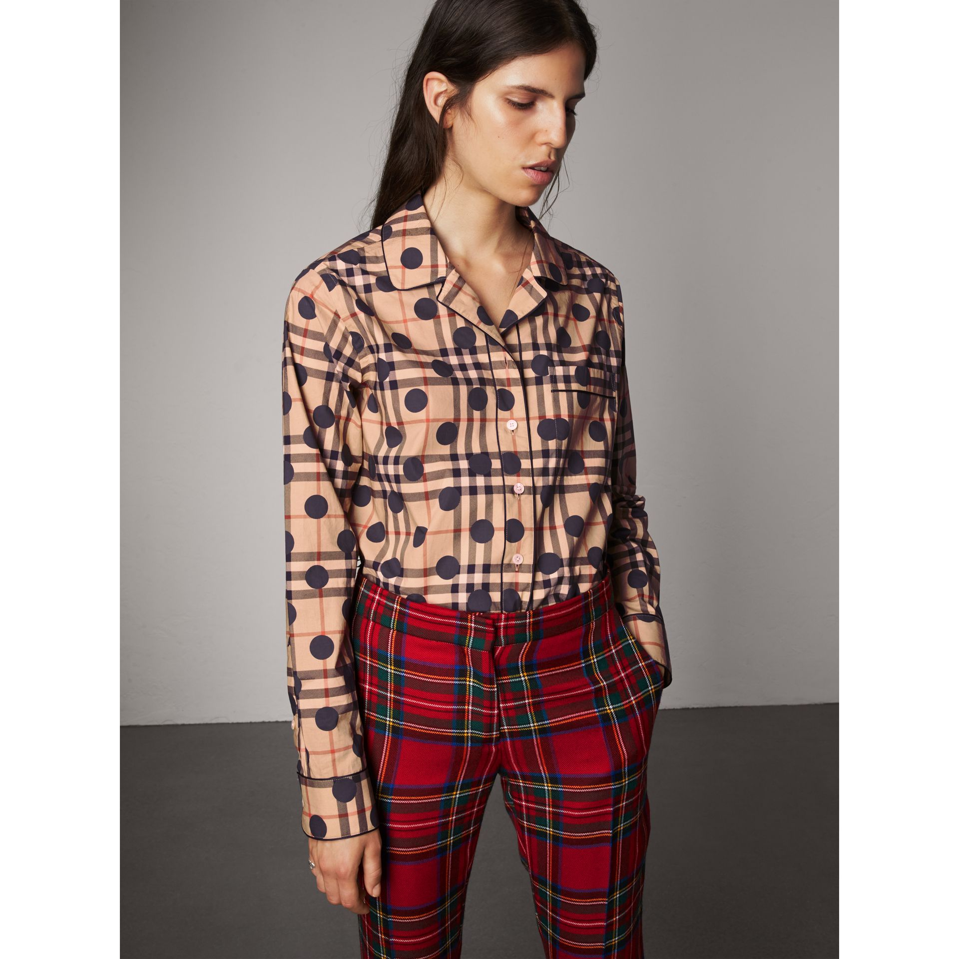 Polka-dot Check Cotton Pyjama-style Shirt in Navy - Women | Burberry United States - gallery image 0