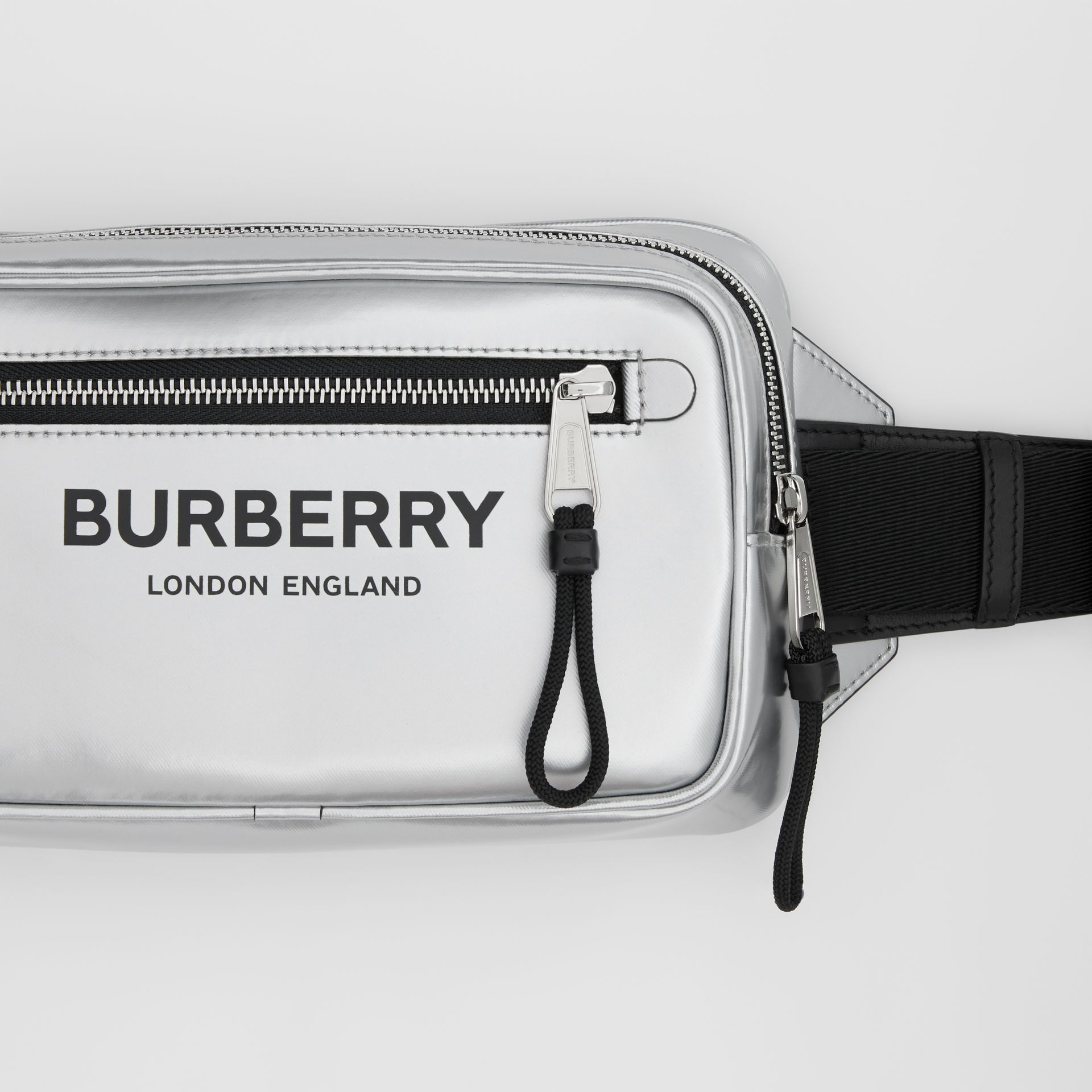Metallic Coated Canvas Bum Bag in Silver - Men | Burberry - gallery image 1