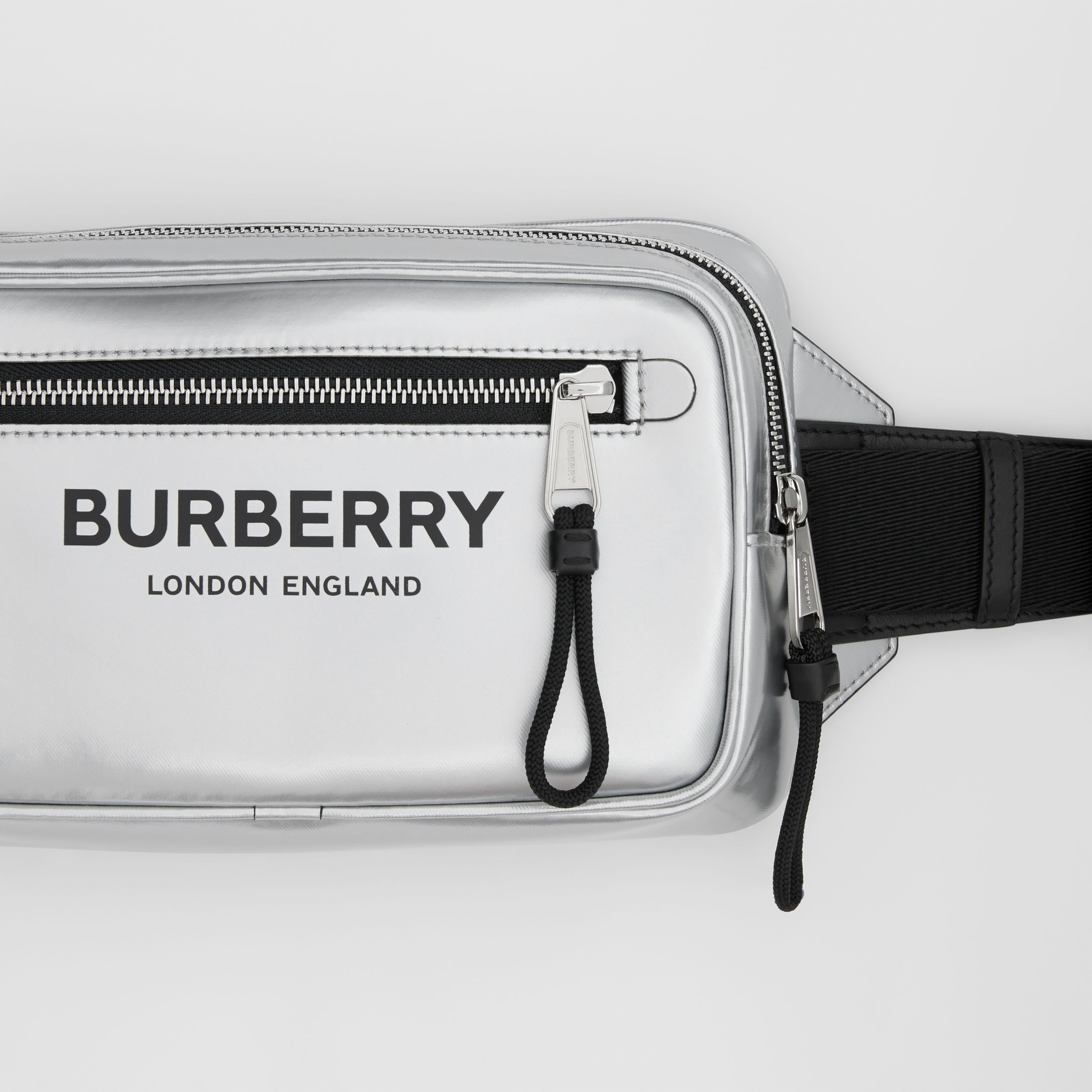 Metallic Coated Canvas Bum Bag in Silver - Men | Burberry - 2