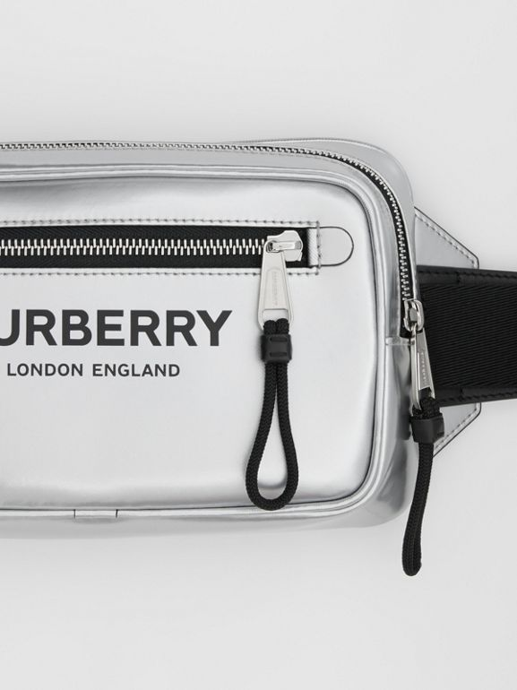 Metallic Coated Canvas Bum Bag in Silver - Men | Burberry - cell image 1