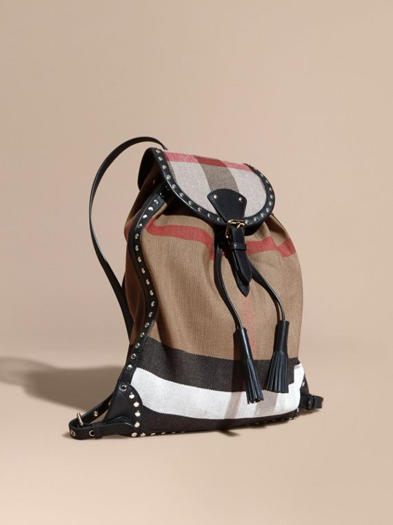 Canvas Check Backpack with Studded Leather Trim
