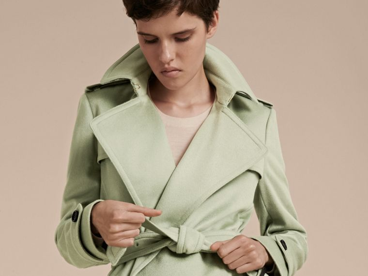 Pale eucalyptus Cashmere Wrap Trench Coat - cell image 4