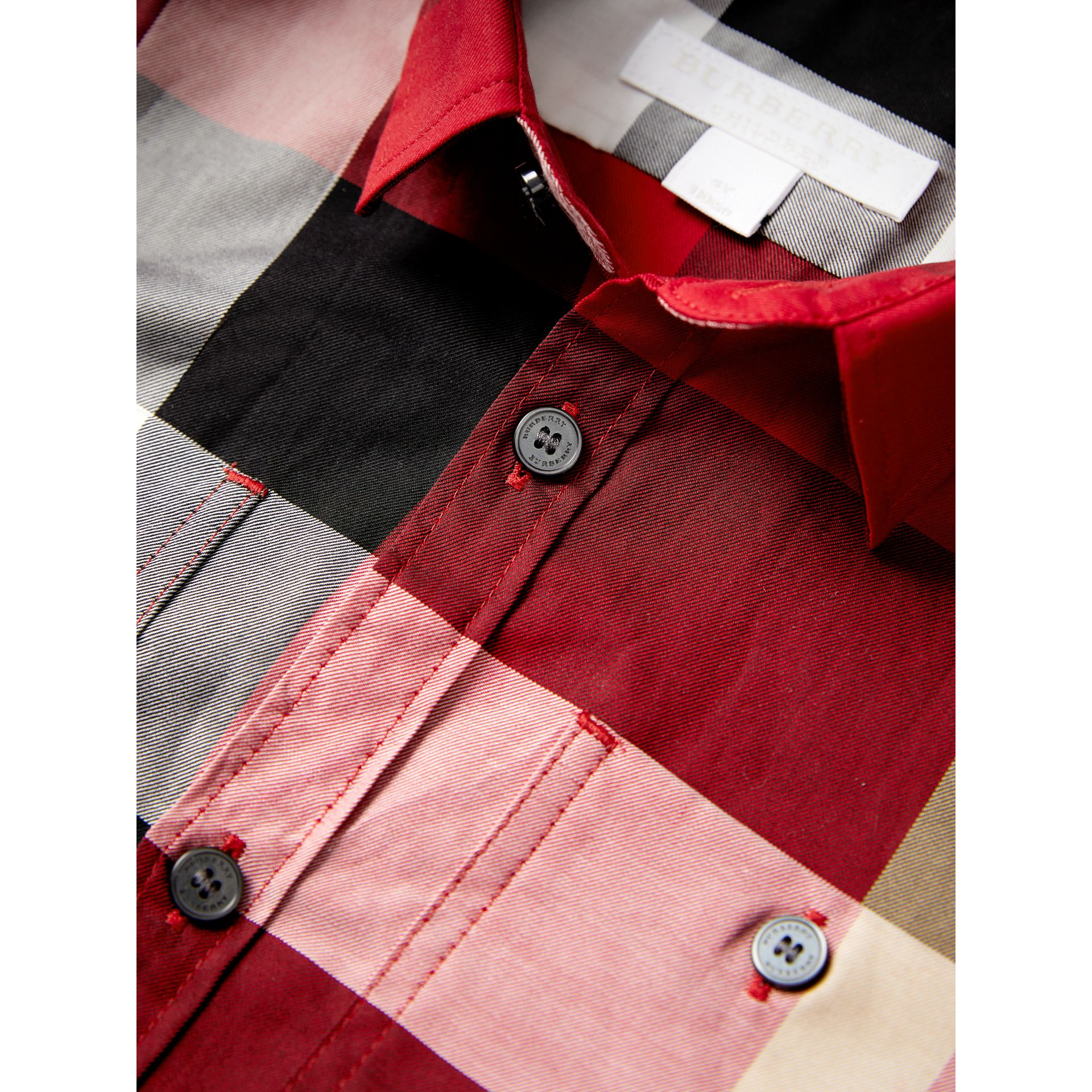 Check Cotton Shirt in Parade Red - Boy | Burberry Singapore - gallery image 2