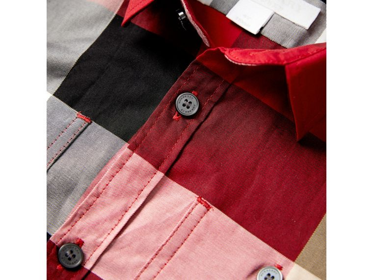 Check Cotton Shirt in Parade Red | Burberry Canada - cell image 1