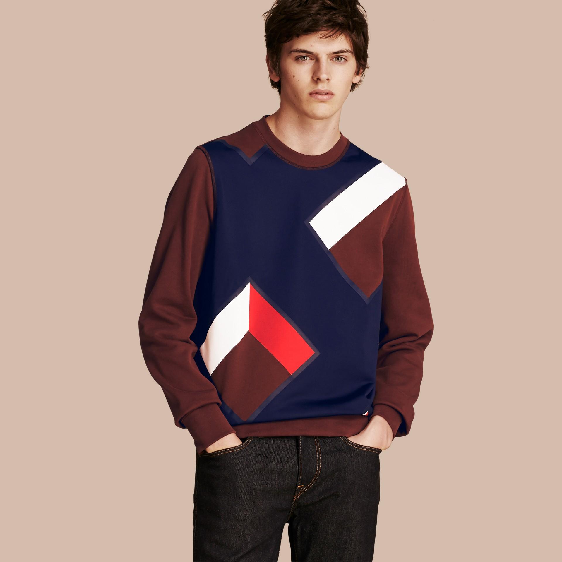 Geometric Appliqué Cotton Sweater - gallery image 1