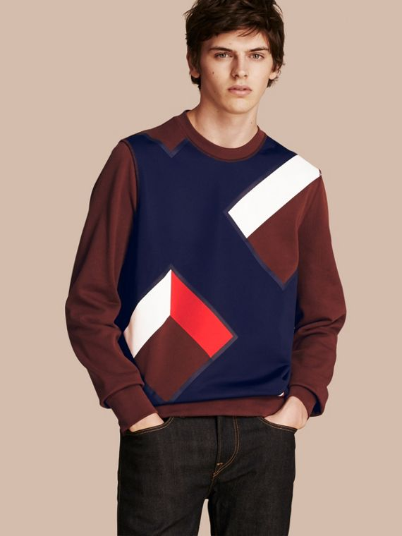 Geometric Appliqué Cotton Sweater