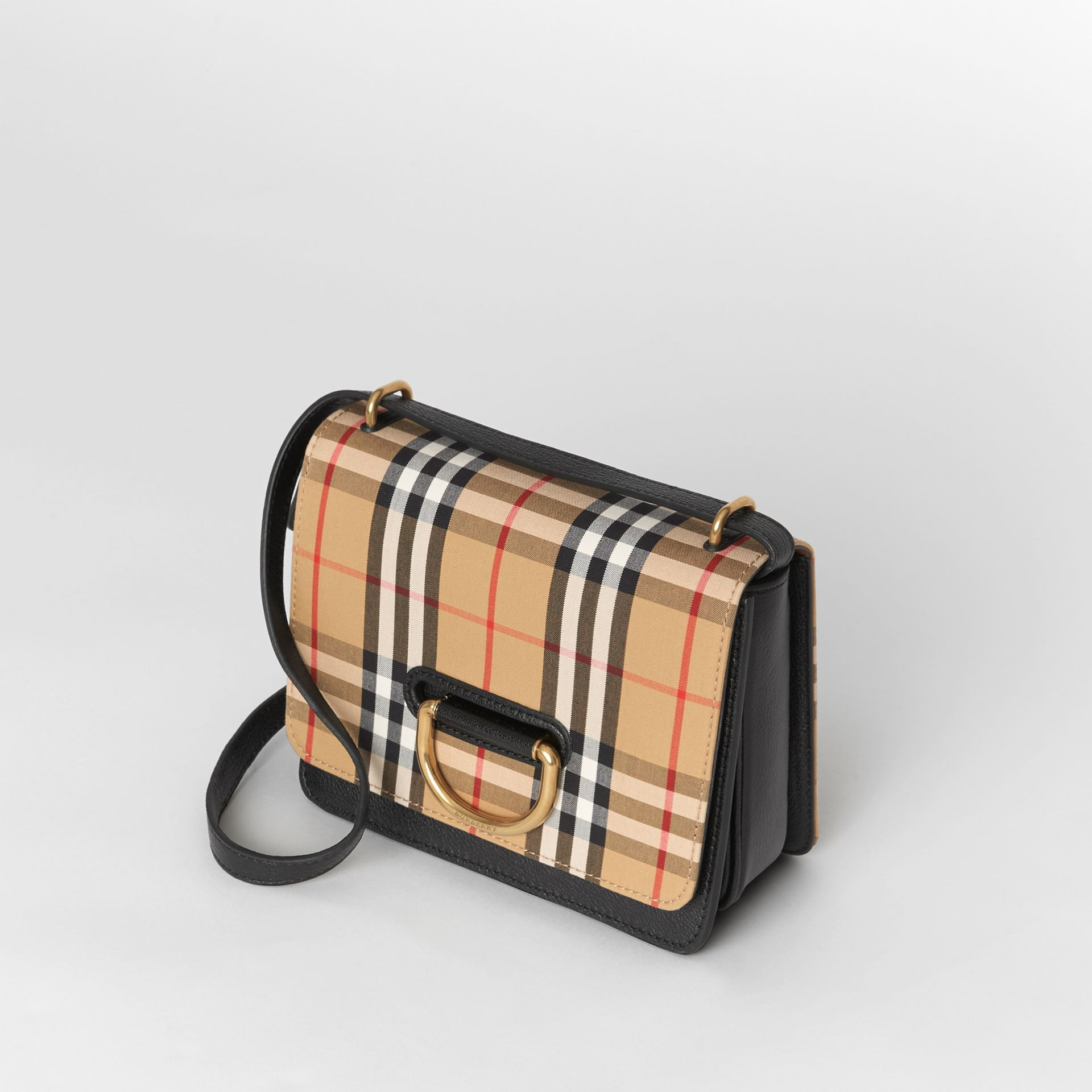 The Small Vintage Check and Leather D-ring Bag in Black/antique Yellow - Women | Burberry United Kingdom - gallery image 4