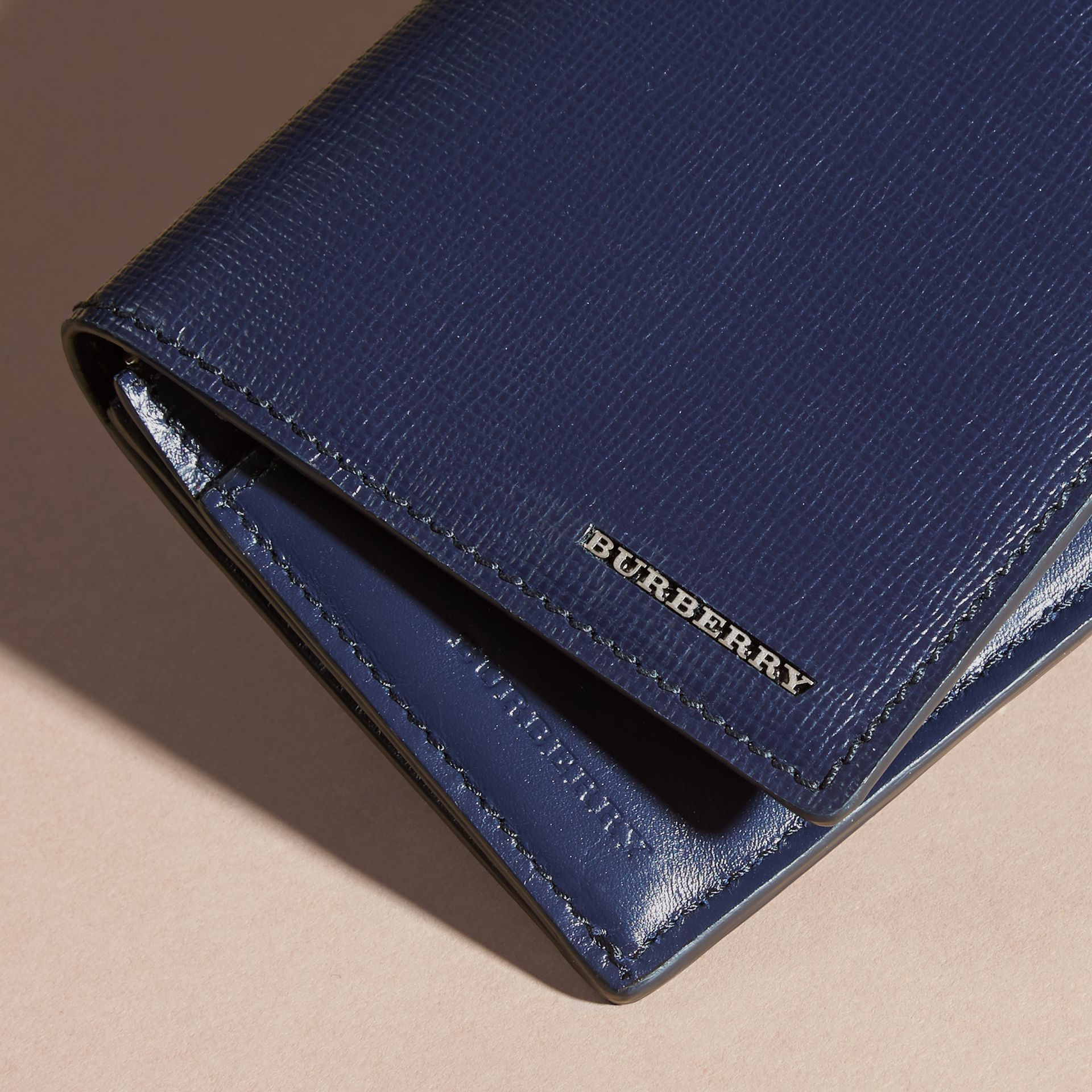 London Leather Continental Wallet in Dark Navy | Burberry United Kingdom - gallery image 4