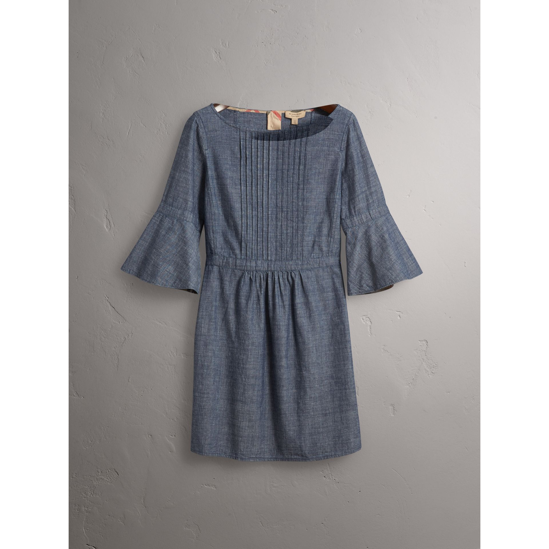 Bell Sleeve Cotton Chambray Dress with Check Detail - Women | Burberry - gallery image 4