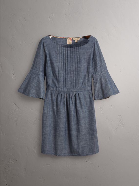 Bell Sleeve Cotton Chambray Dress with Check Detail - Women | Burberry - cell image 3