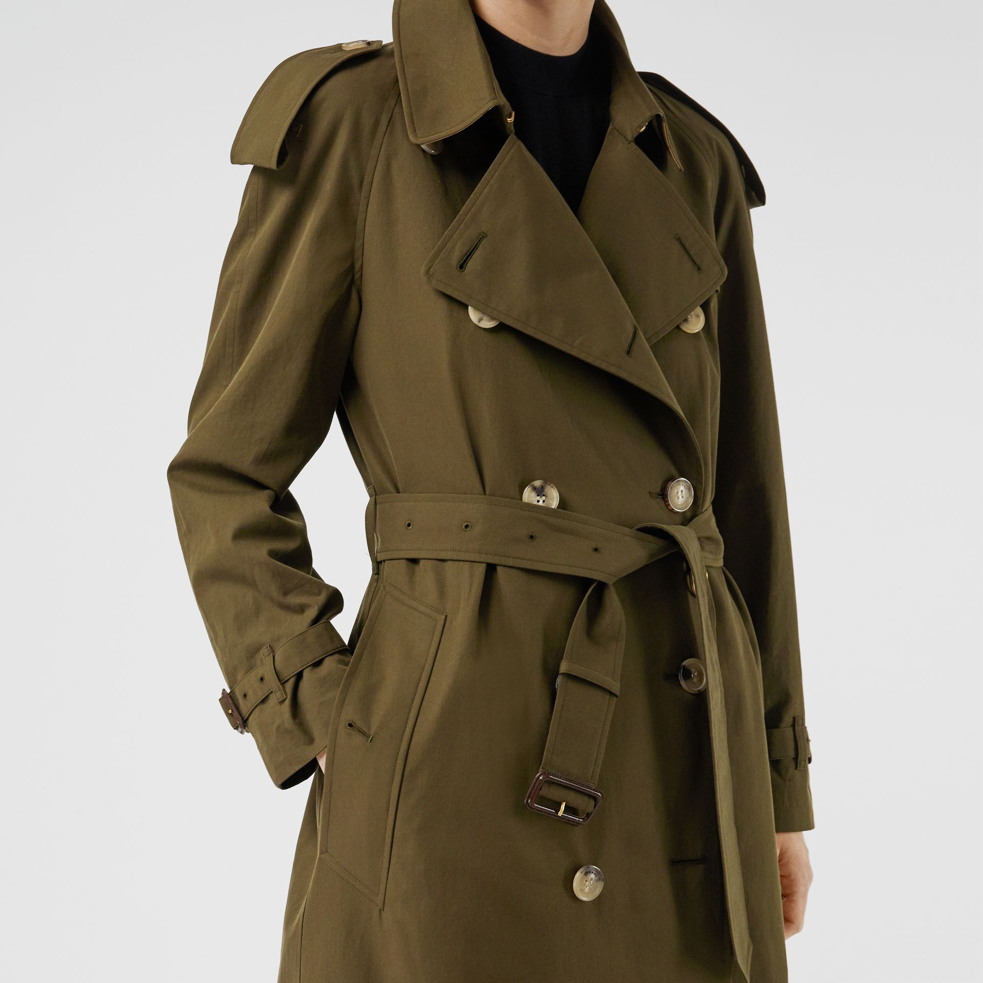 The Long Westminster Heritage Trench Coat in Dark Military Khaki - Women | Burberry Australia - gallery image 6
