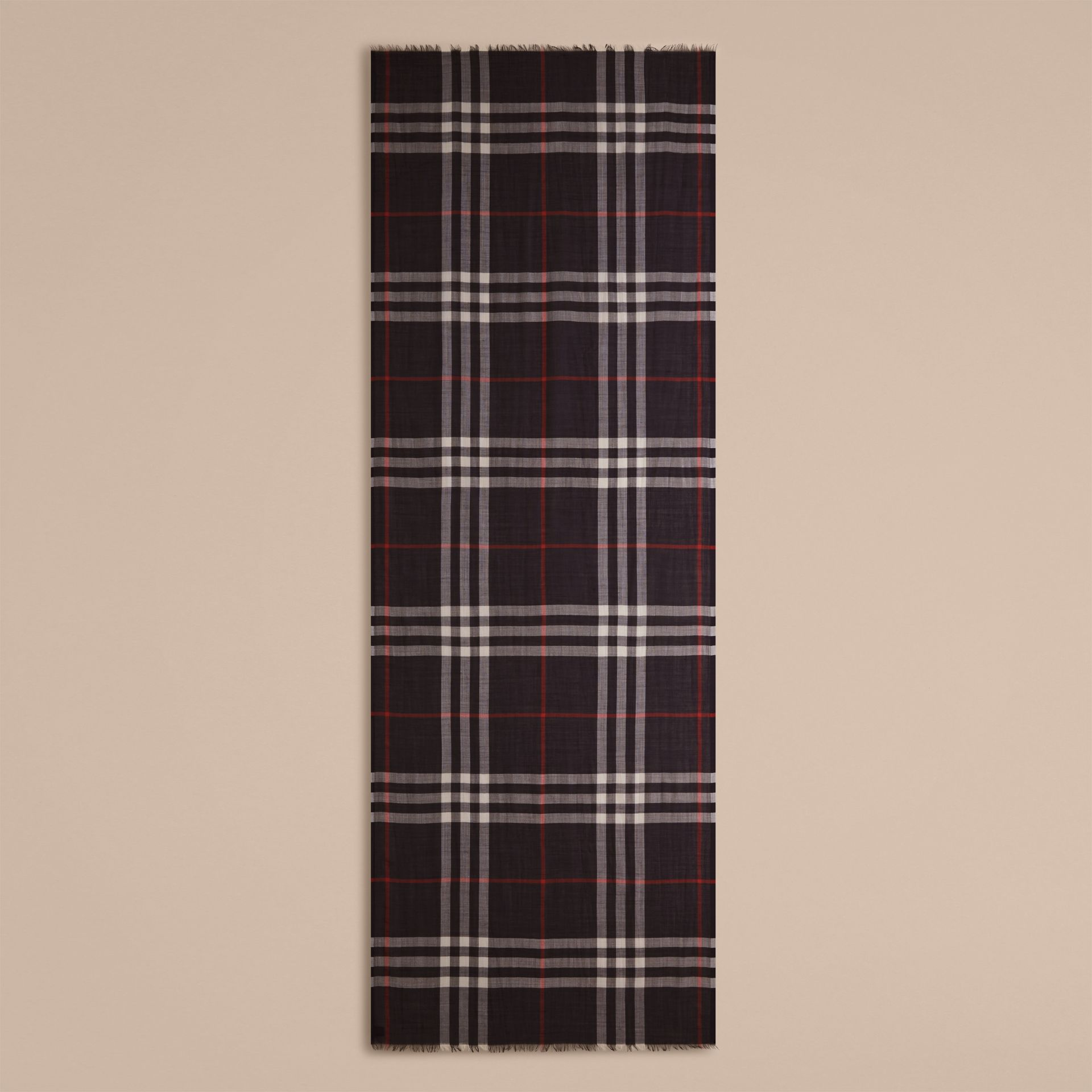 Lightweight Check Wool and Silk Scarf Navy - gallery image 5