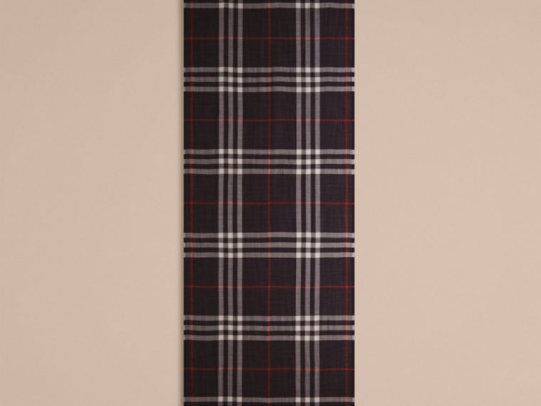 Navy Lightweight Check Wool and Silk Scarf Navy - cell image 4