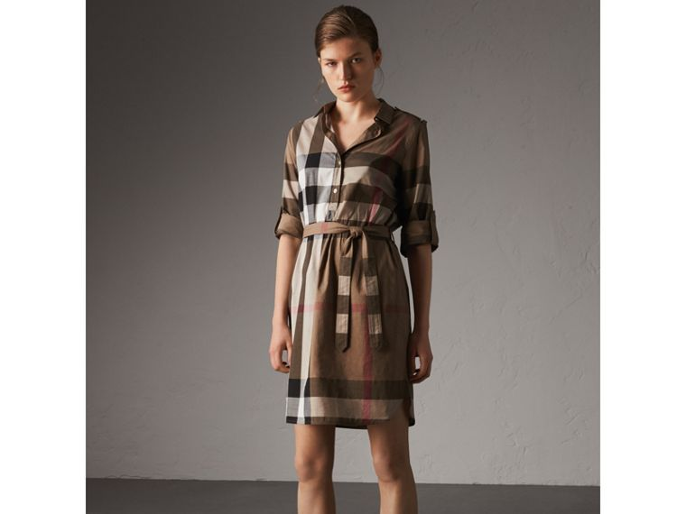 Check Cotton Shirt Dress in Taupe Brown - Women | Burberry - cell image 4