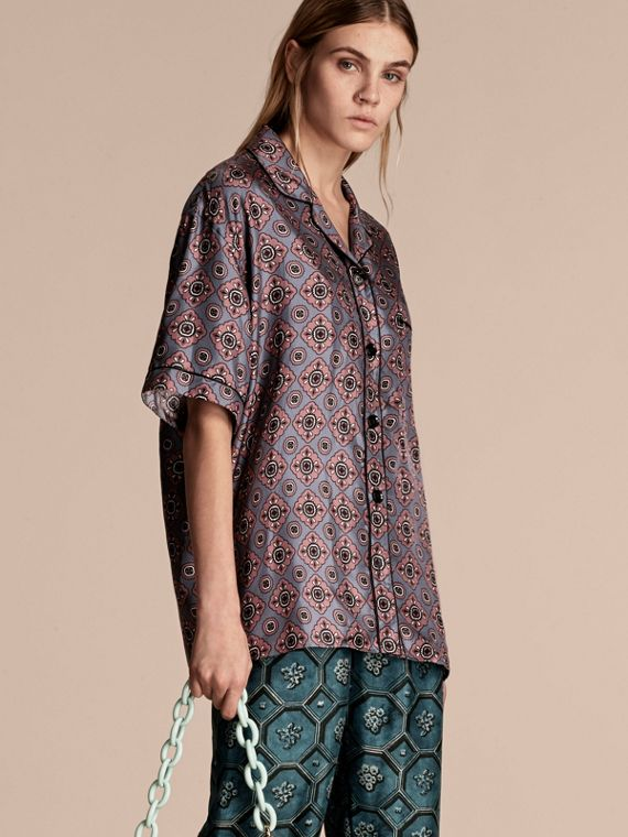 Short-sleeved Geometric Tile Print Silk Pyjama-style Shirt