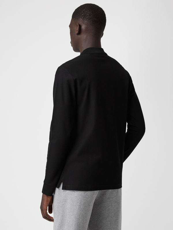 Long-sleeve Archive Logo Cotton Piqué Polo Shirt in Black - Men | Burberry United Kingdom - cell image 2