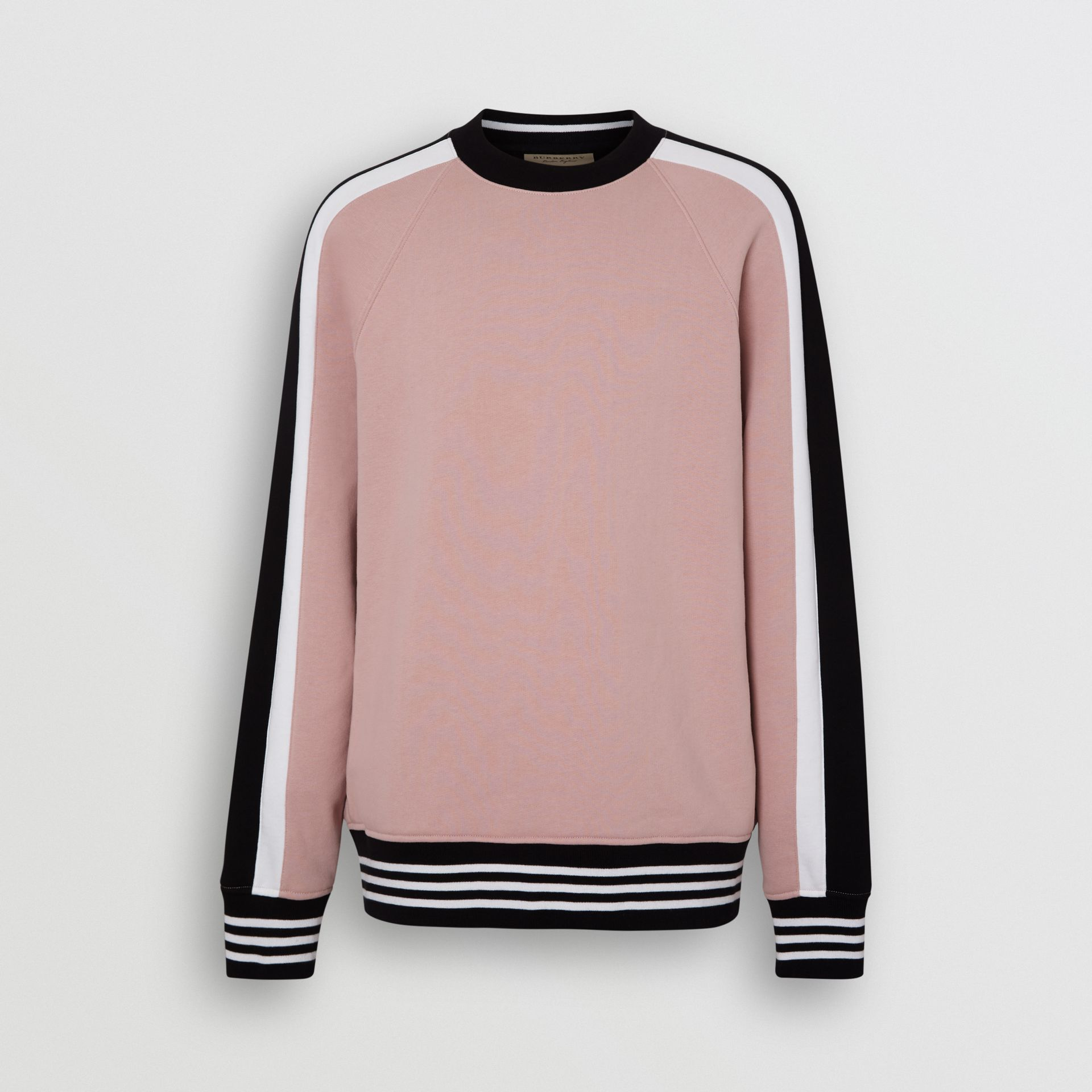 Stripe Detail Cotton Jersey Sweatshirt in Pale Orchid - Men | Burberry - gallery image 3