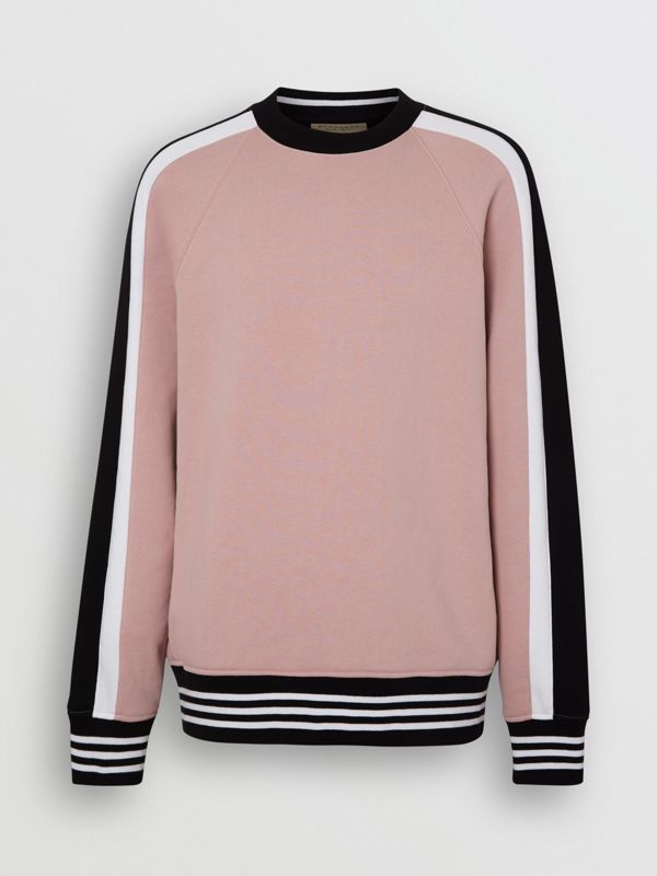 Stripe Detail Cotton Jersey Sweatshirt in Pale Orchid - Men | Burberry - cell image 3