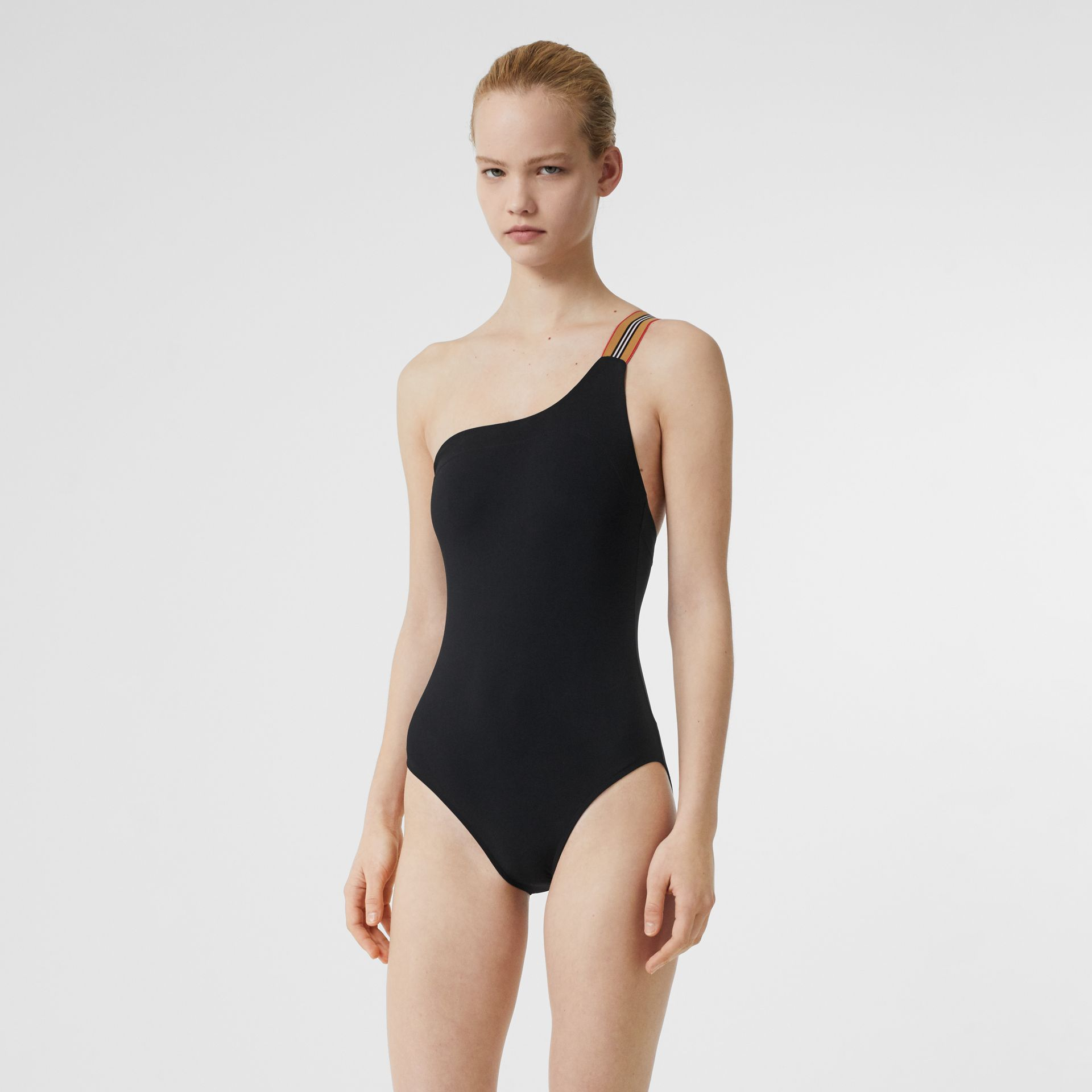 Icon Stripe Detail Swimsuit in Black - Women | Burberry Australia - gallery image 0