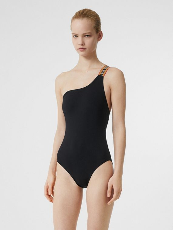 Icon Stripe Detail Swimsuit in Black