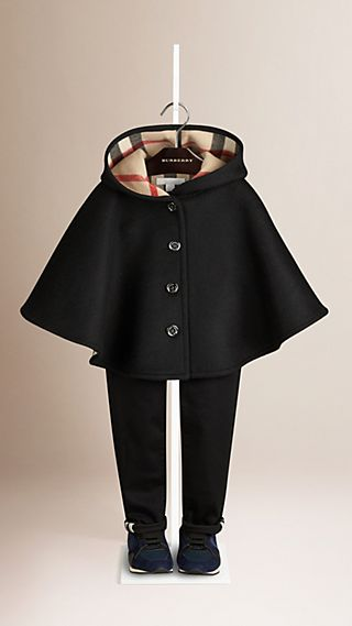 Check Lined Wool Cape