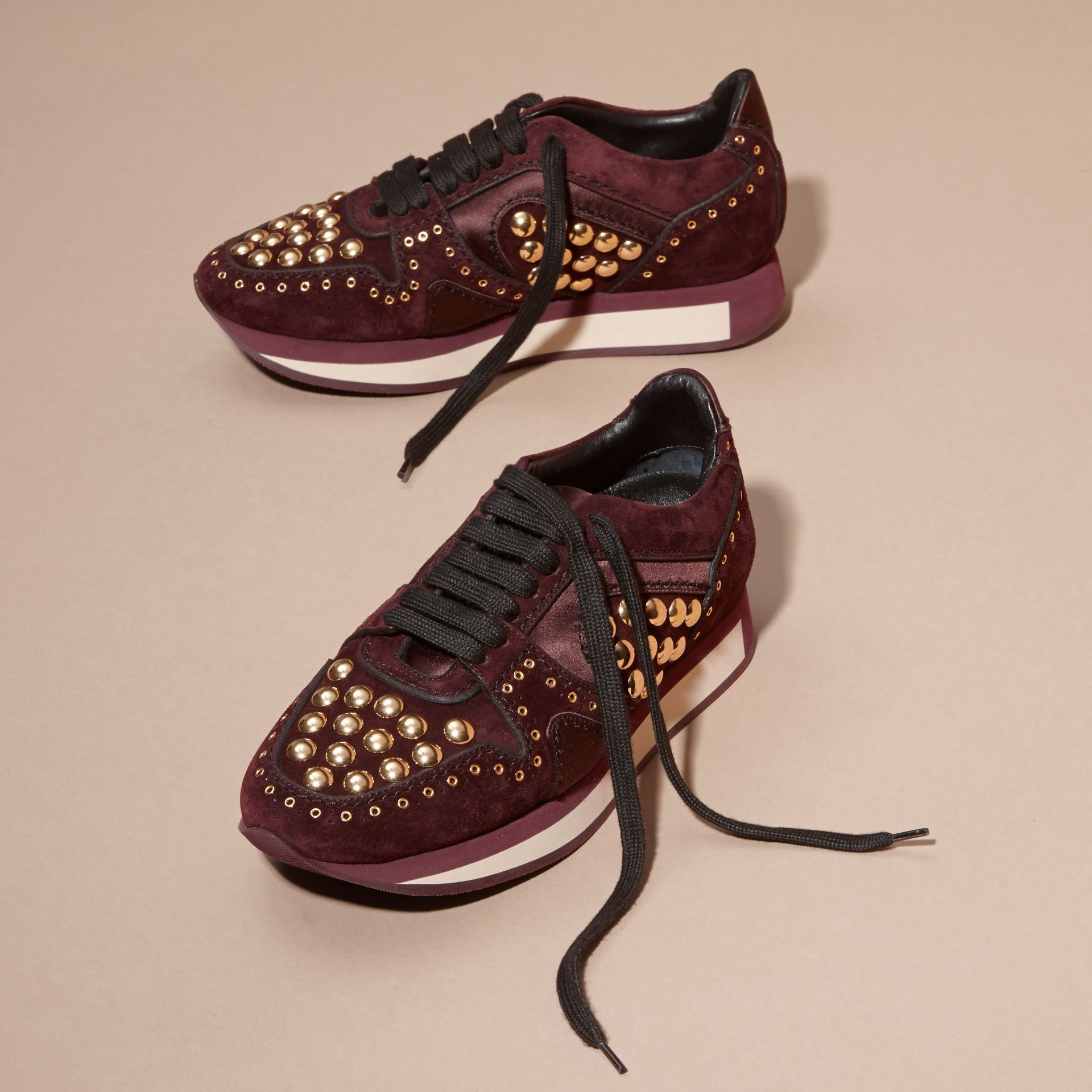 Dark mahogany The Field Sneaker in Studded Suede Dark Mahogany - gallery image 3