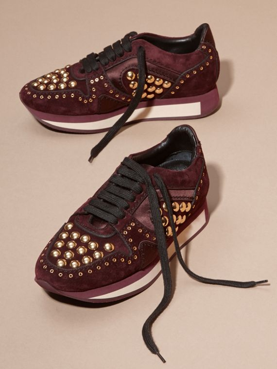 Dark mahogany The Field Sneaker in Studded Suede Dark Mahogany - cell image 2