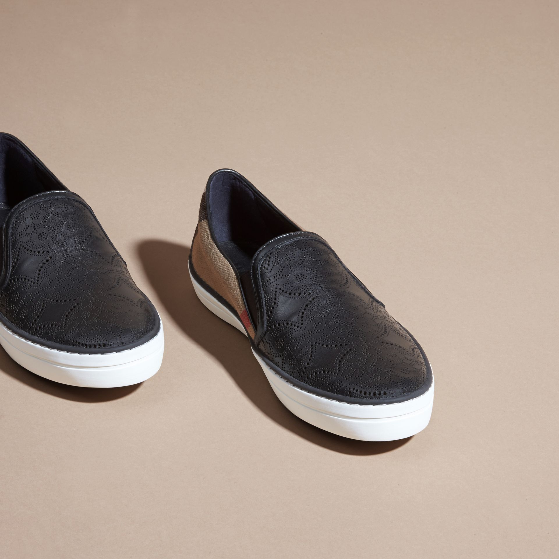 House check/black Laser-cut Lace Leather and Check Slip-on Trainers - gallery image 3