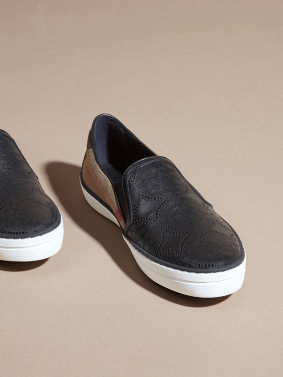 House check/black Laser-cut Lace Leather and Check Slip-on Trainers - cell image 2