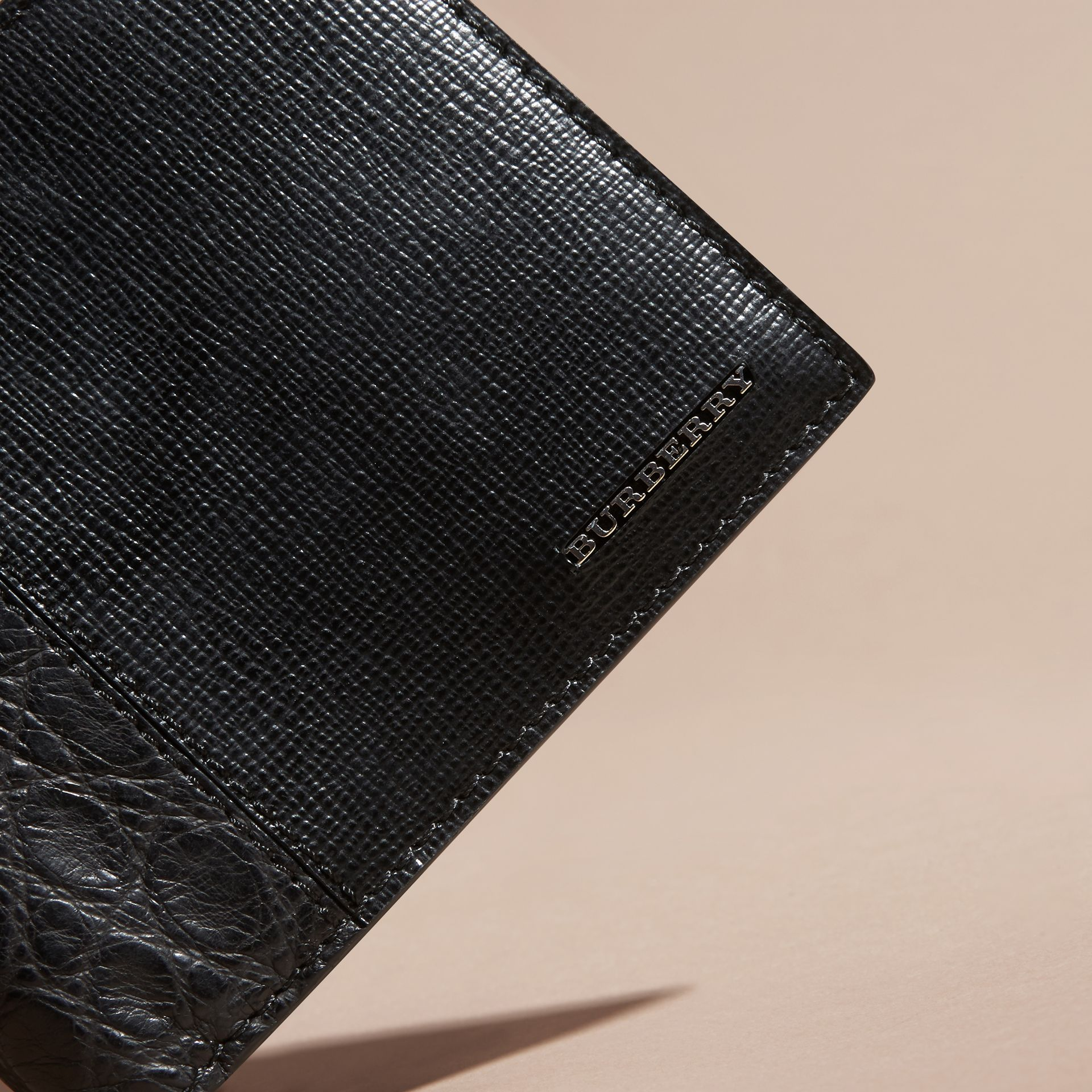 Leather and Alligator International Bifold Wallet in Black - Men | Burberry Hong Kong - gallery image 2