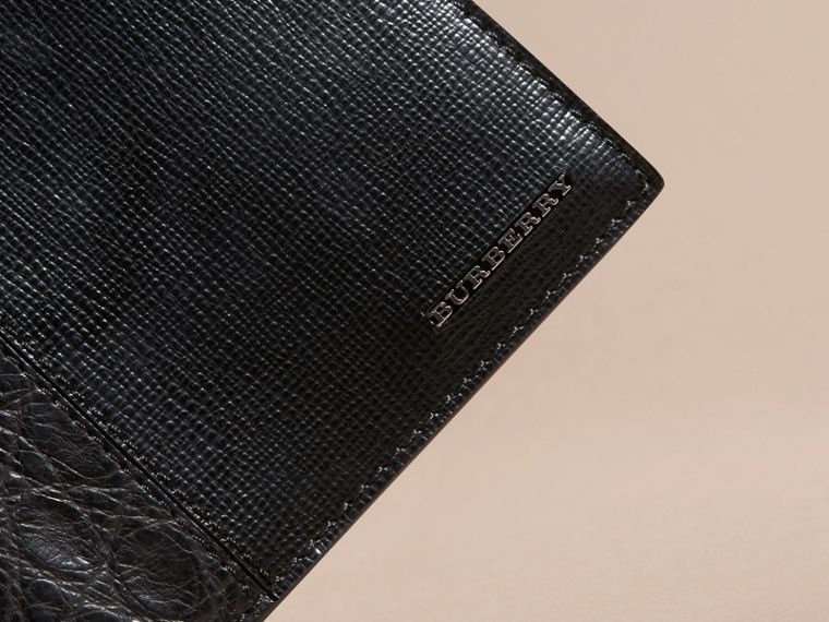 Leather and Alligator International Bifold Wallet in Black - Men | Burberry Australia - cell image 1