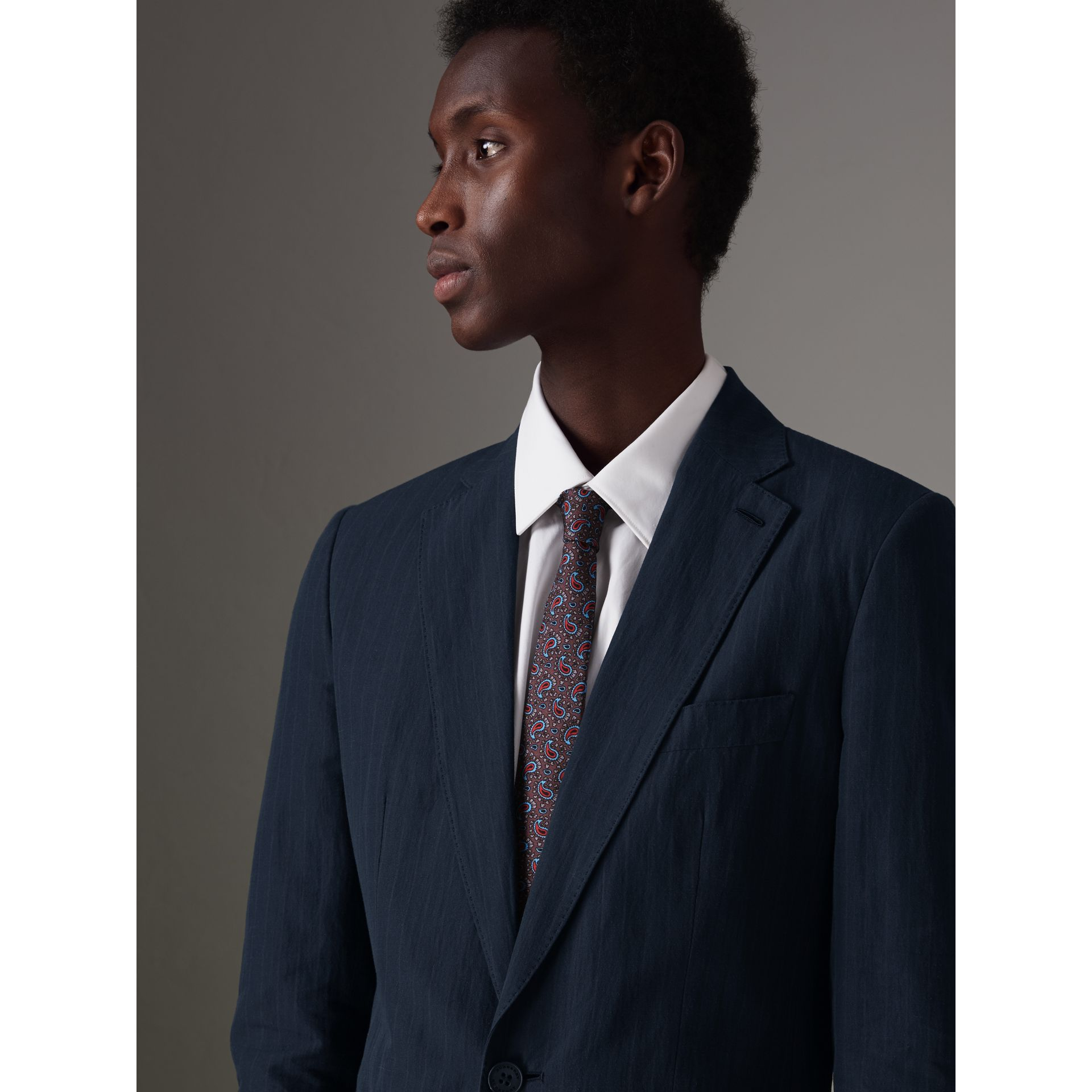 Slim Fit Pinstripe Ramie Cotton Suit in Navy - Men | Burberry United Kingdom - gallery image 1