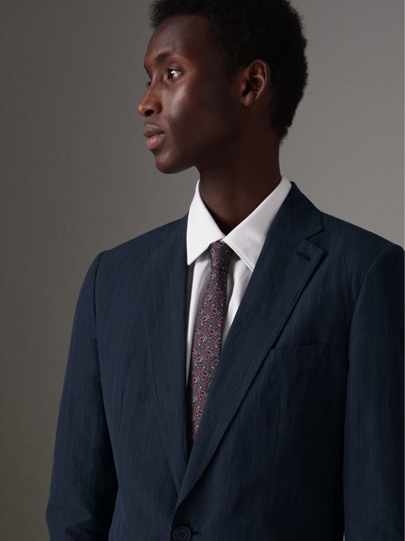 Slim Fit Pinstripe Ramie Cotton Suit in Navy - Men | Burberry Singapore - cell image 1
