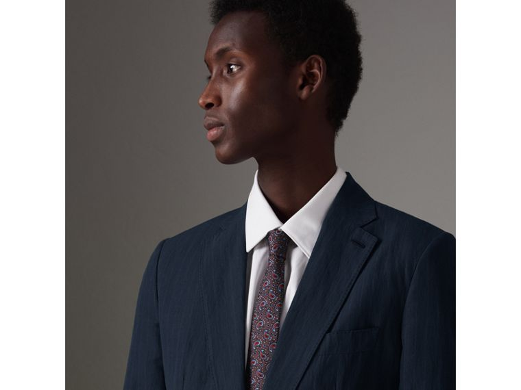 Slim Fit Pinstripe Ramie Cotton Suit in Navy - Men | Burberry - cell image 1