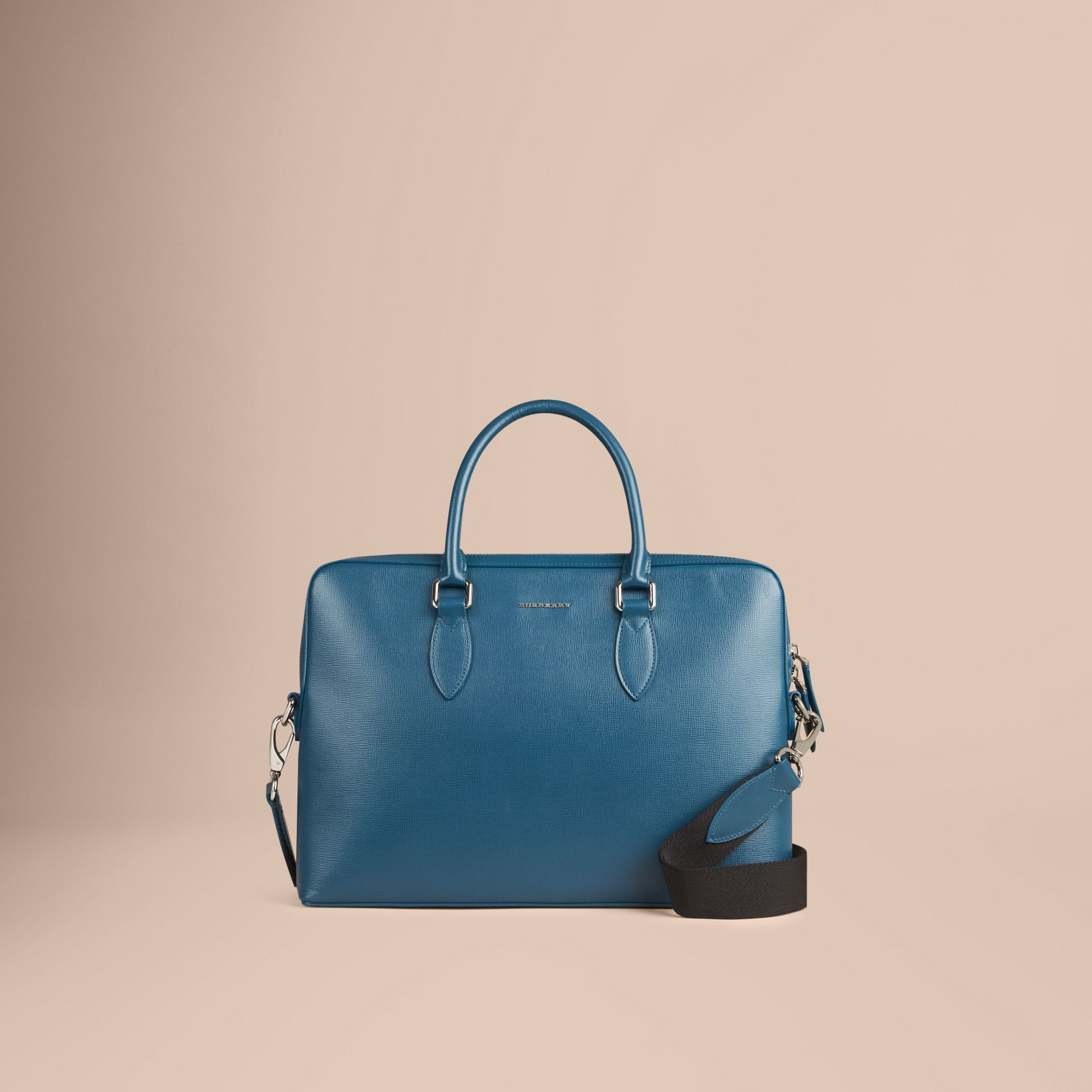 The Slim Barrow in London Leather in Mineral Blue - Men | Burberry - gallery image 7