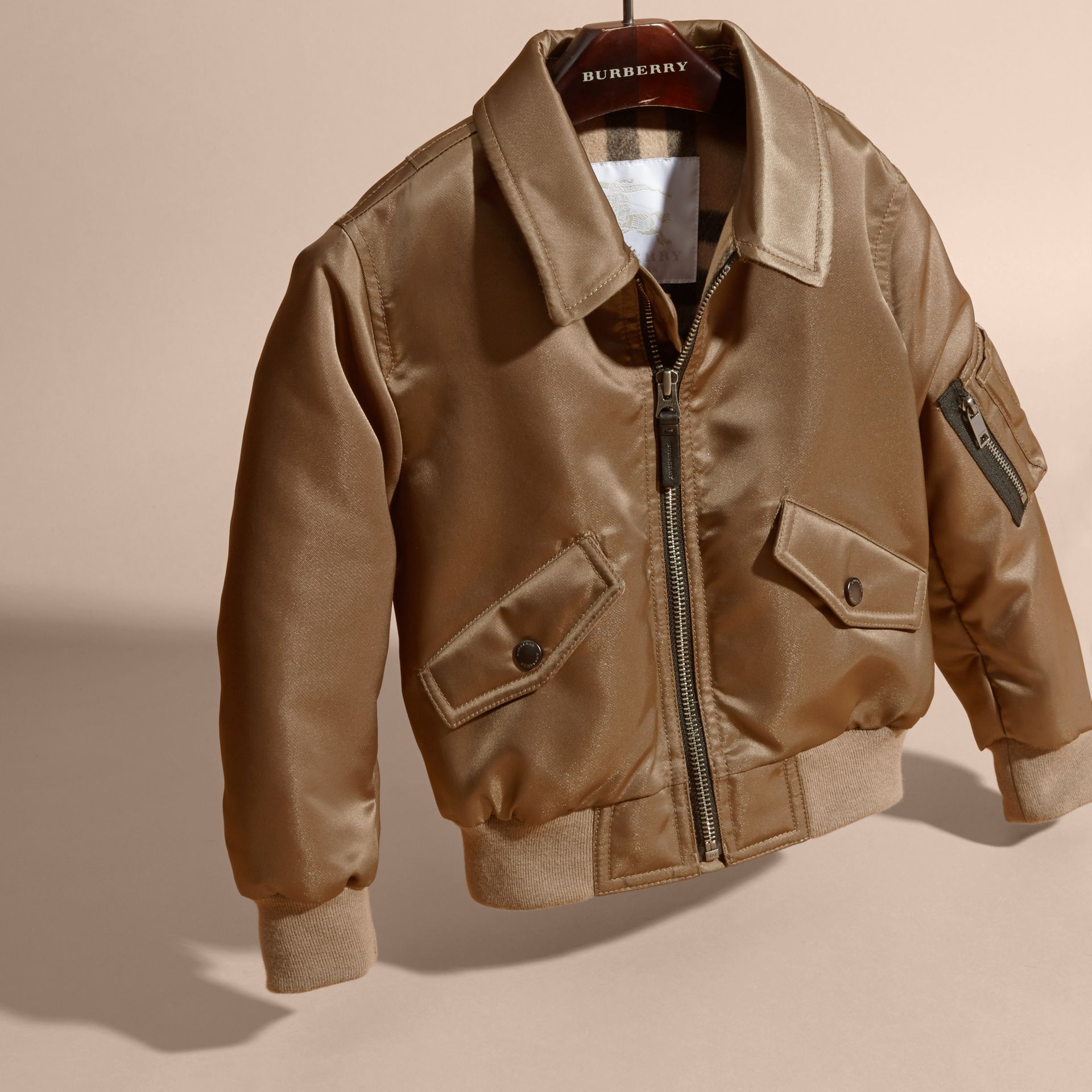 Dark taupe Satin Bomber Jacket with Check Wool Cashmere Lining - gallery image 3
