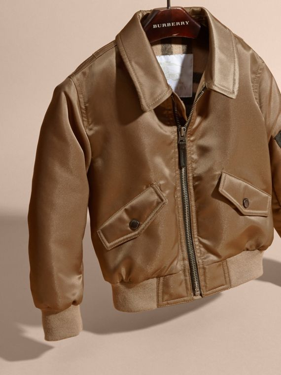 Dark taupe Satin Bomber Jacket with Check Wool Cashmere Lining - cell image 2