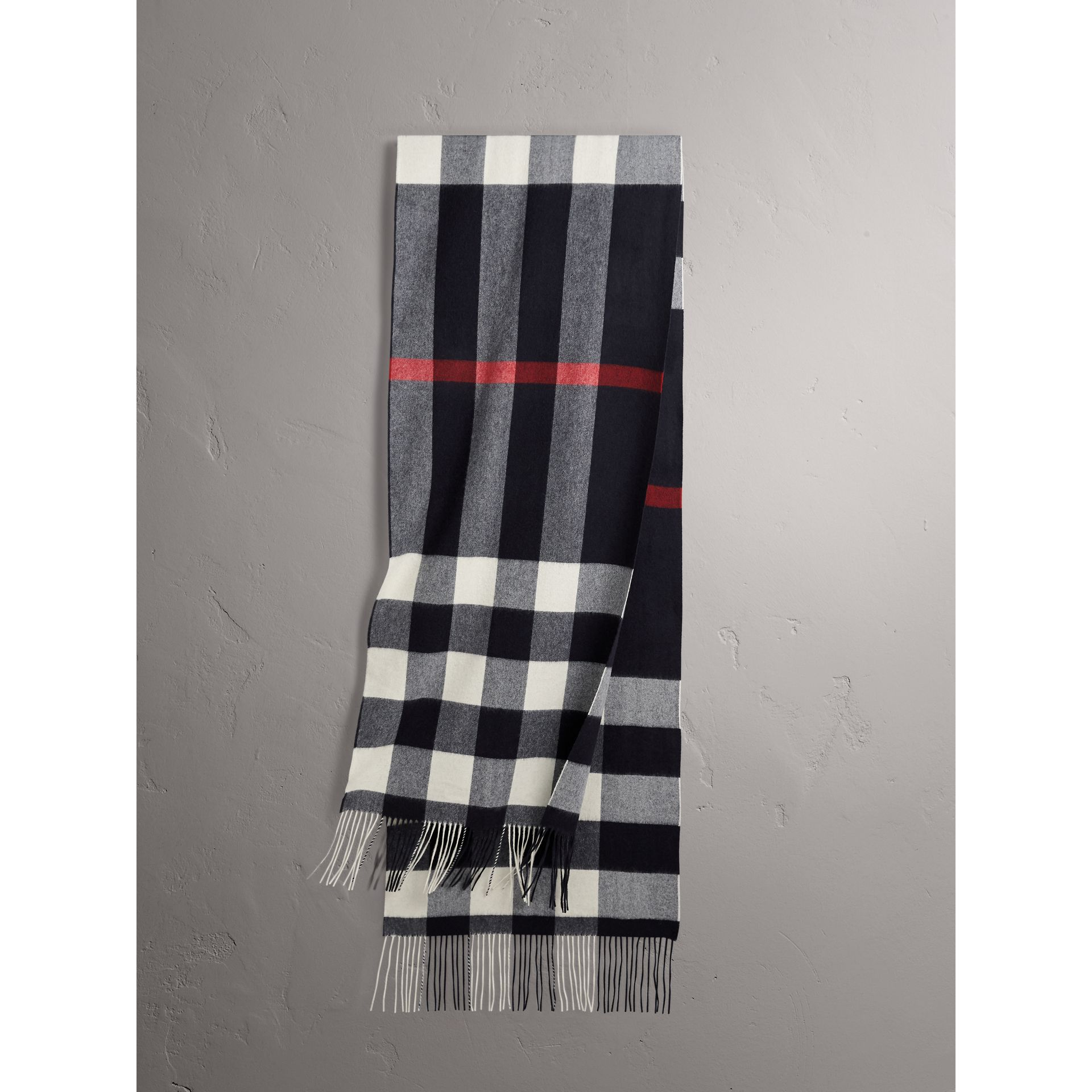 Oversize Check Cashmere Scarf in Navy - Women | Burberry - gallery image 1