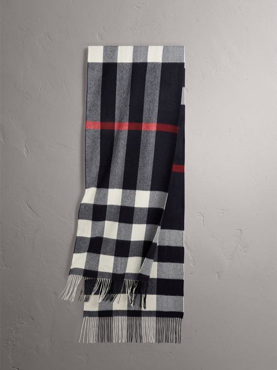 Oversize Check Cashmere Scarf in Navy
