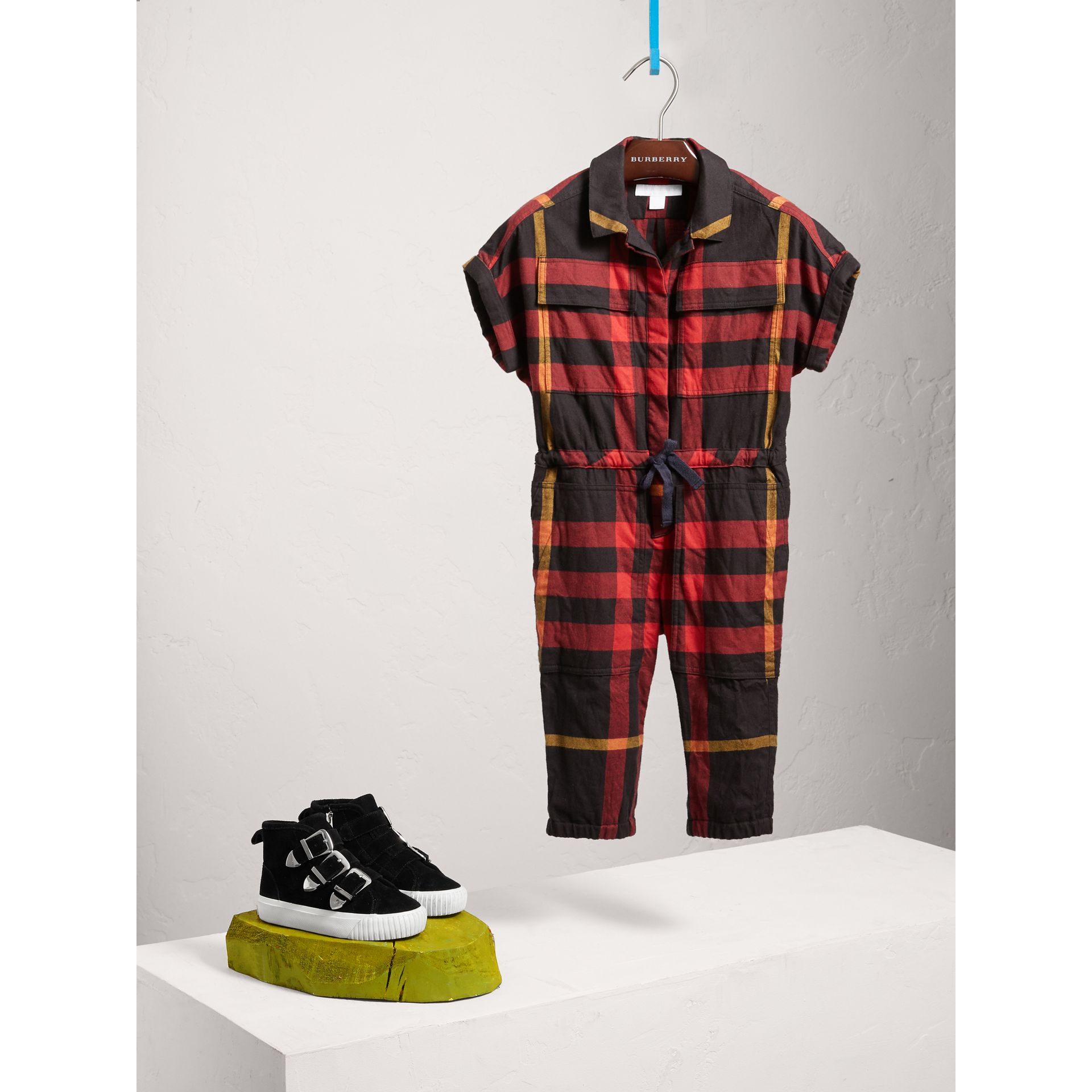 Short-sleeve Check Cotton Flannel Jumpsuit in Black - Girl | Burberry Australia - gallery image 0