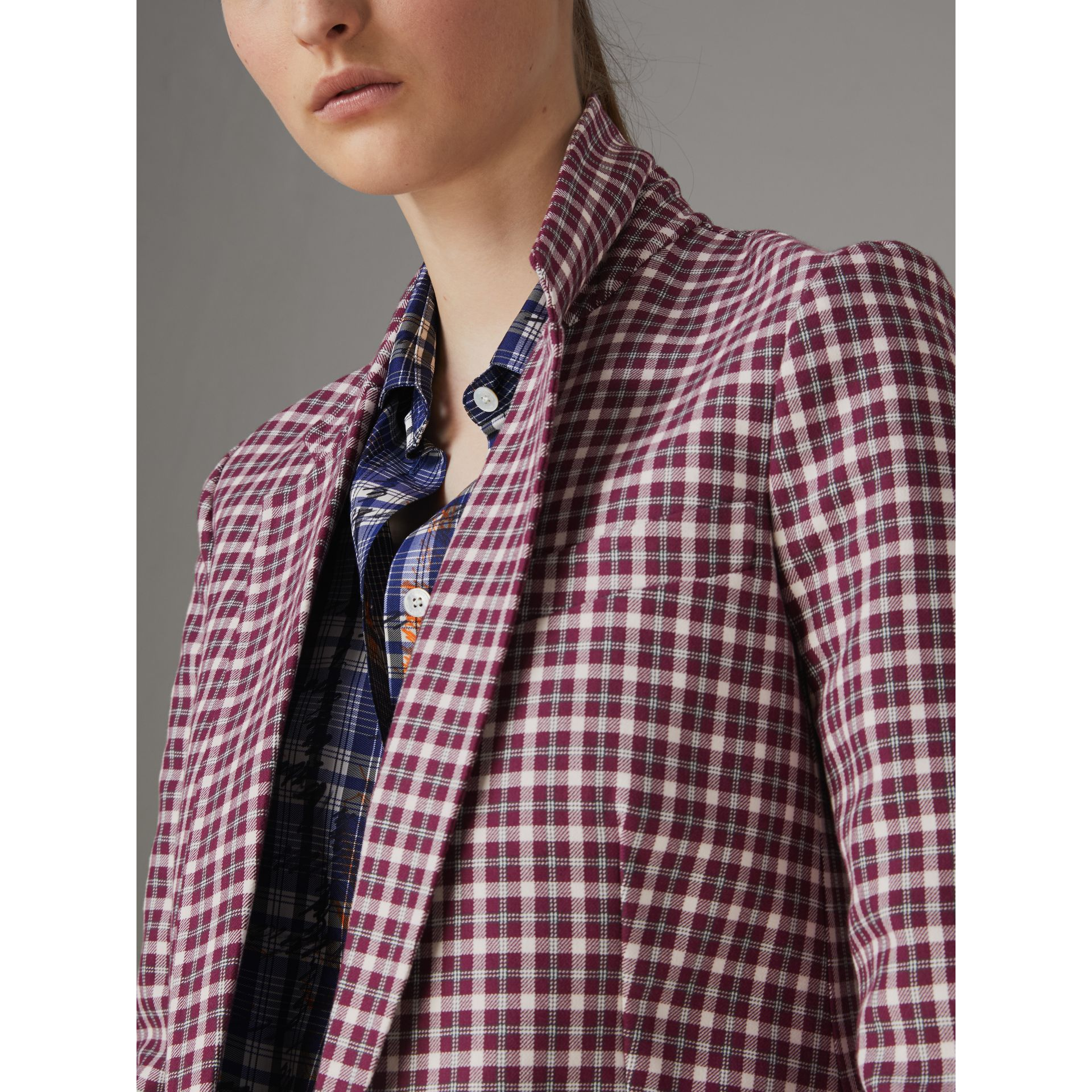Check Cotton Tailored Jacket in Burgundy - Women | Burberry Canada - gallery image 1
