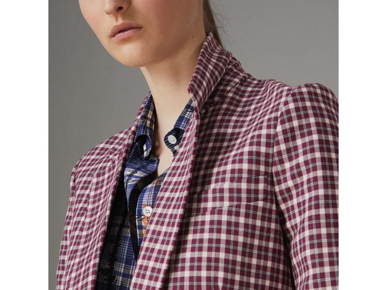 Check Cotton Tailored Jacket in Burgundy - Women | Burberry - cell image 1