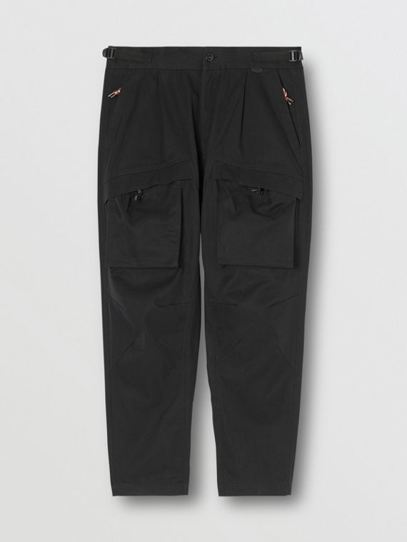Cotton Cargo Trousers in Black