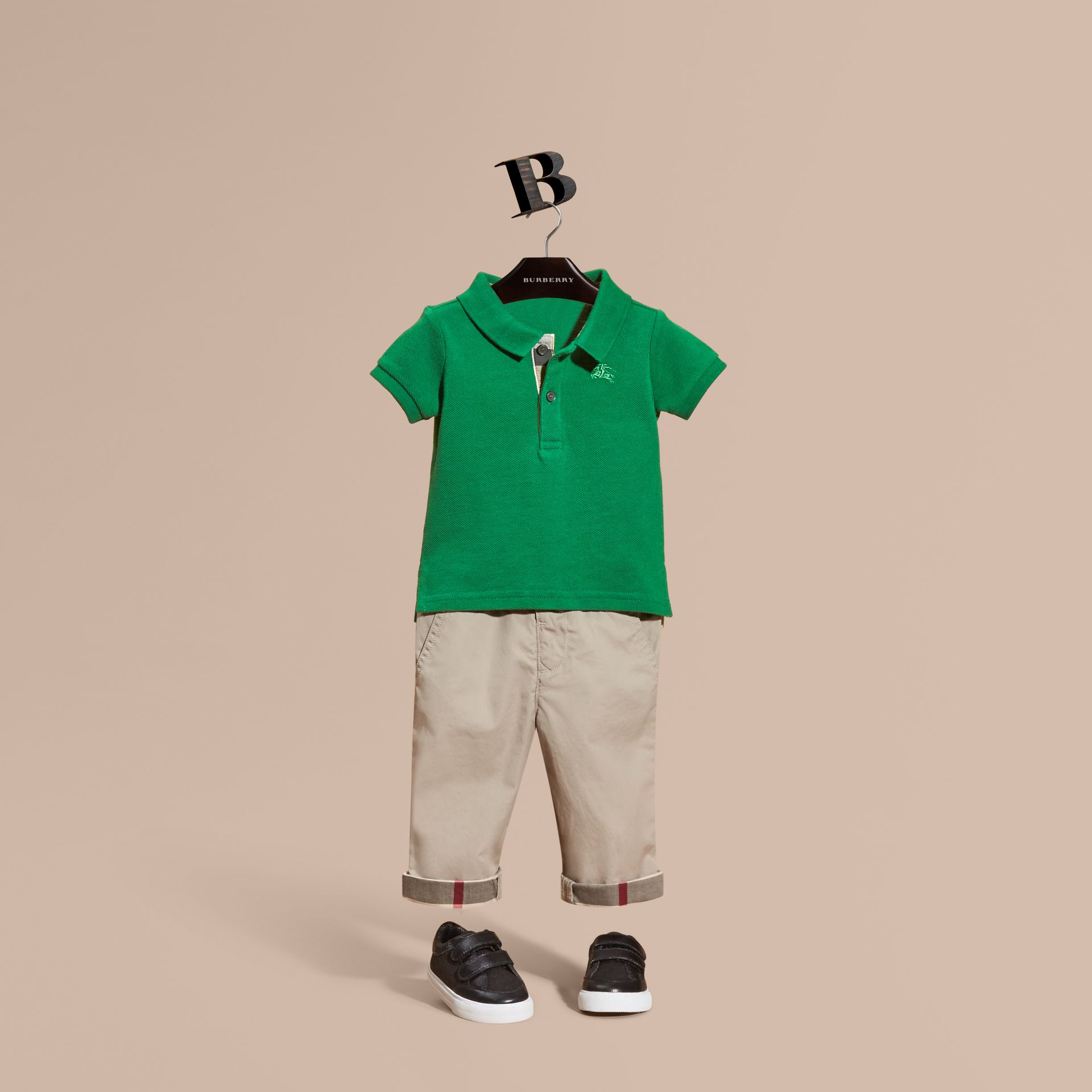 Bright pigment green Cotton Piqué Polo Shirt Bright Pigment Green - gallery image 1