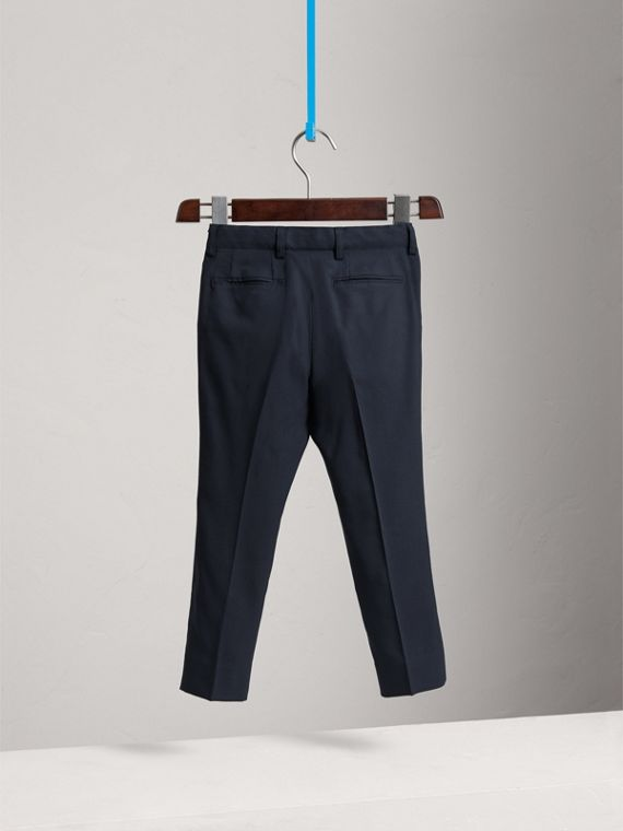 Tailored Wool Trousers in Navy - Boy | Burberry - cell image 3
