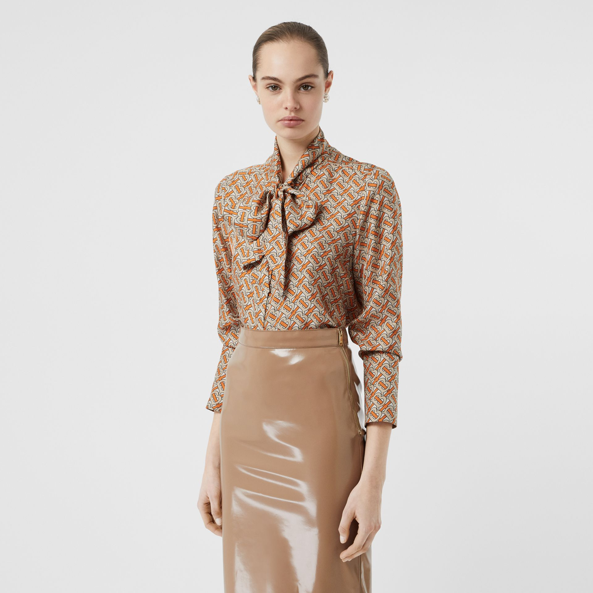 Monogram Print Silk Pussy-bow Blouse in Bright Orange - Women | Burberry United Kingdom - gallery image 0