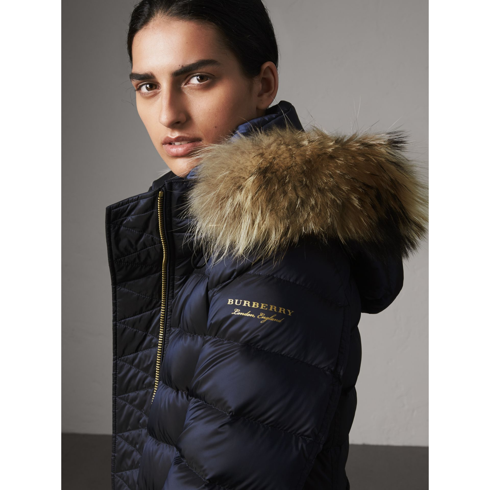 Detachable Fur Trim Down-filled Puffer Coat with Hood in Navy - Women | Burberry Canada - gallery image 1