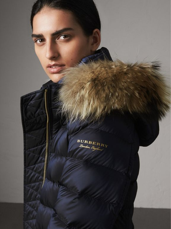 Detachable Fur Trim Down-filled Puffer Coat with Hood in Navy - Women | Burberry United States - cell image 1